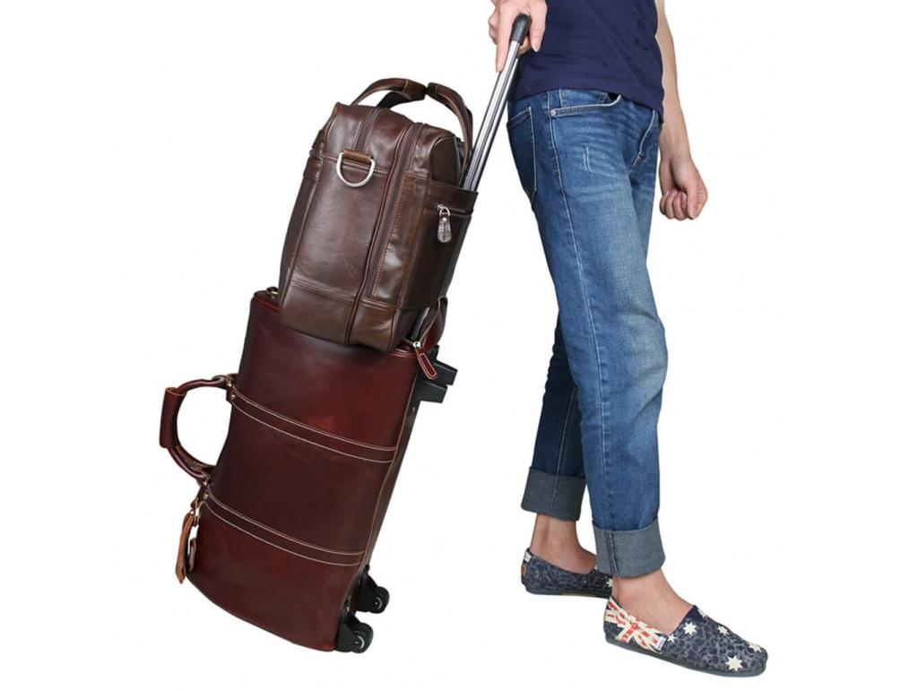 Мужская кожаная сумка для поездок диагональ ноута 17 дюймов Jasper&Maine 7319C - Royalbag