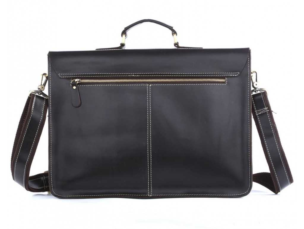 Классический мужской кожаный портфель черный Tiding Bag 7105A - Royalbag