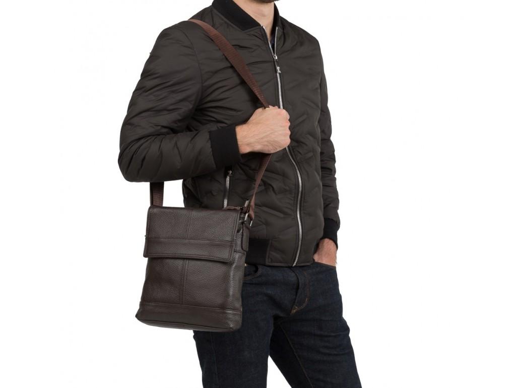 Мессенджер через плечо мужской кожаный коричневый Tiding Bag M38-3822C - Royalbag