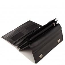 Мужская кожаная барсетка с ремешком черная Horton Collection TR2M-813 - Royalbag