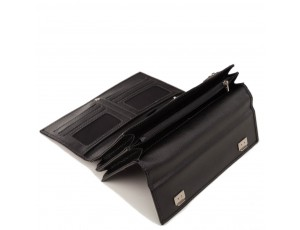 Мужская кожаная барсетка с ремешком черная Horton Collection TR2M-813