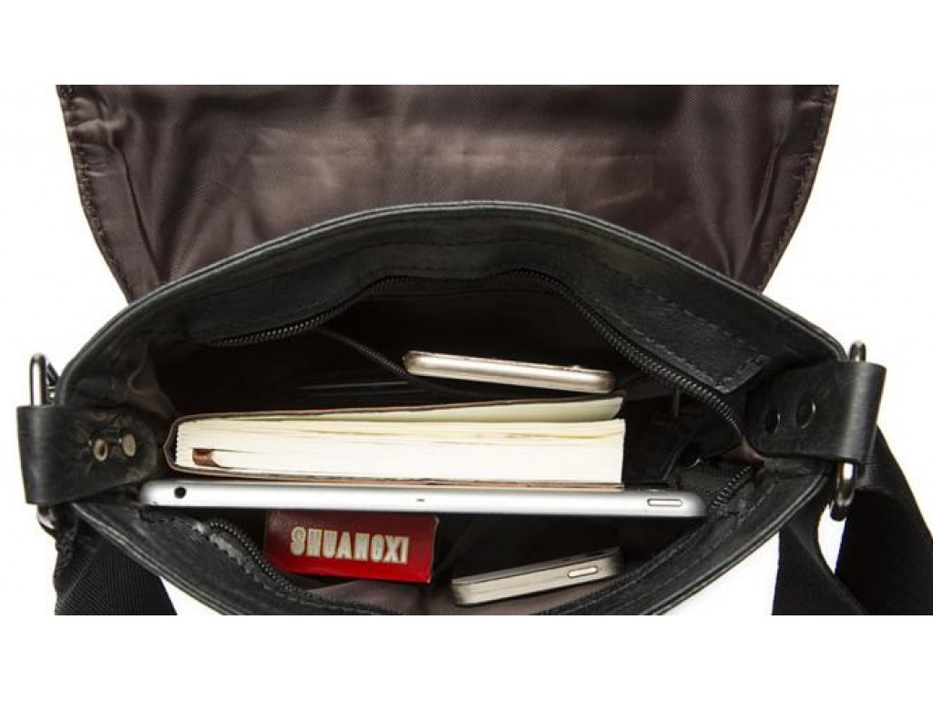Мужская сумка из натуральной фактурной кожи черного цвета BEXHILL BX8239A - Royalbag