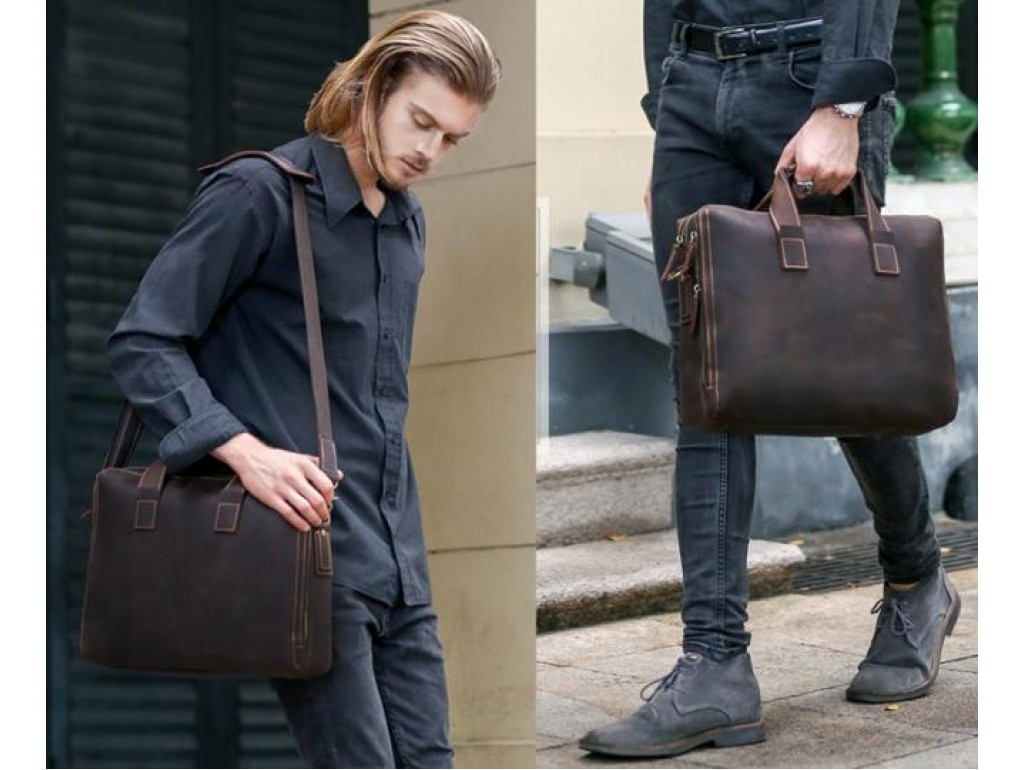 Стильная мужская сумка для документов лошадиная кожа Tiding Bag 7167R - Royalbag
