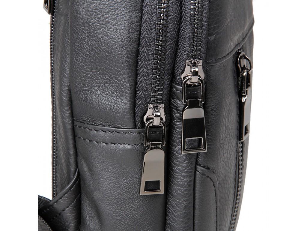 Кожаный черный слинг Tiding Bag 4004A - Royalbag