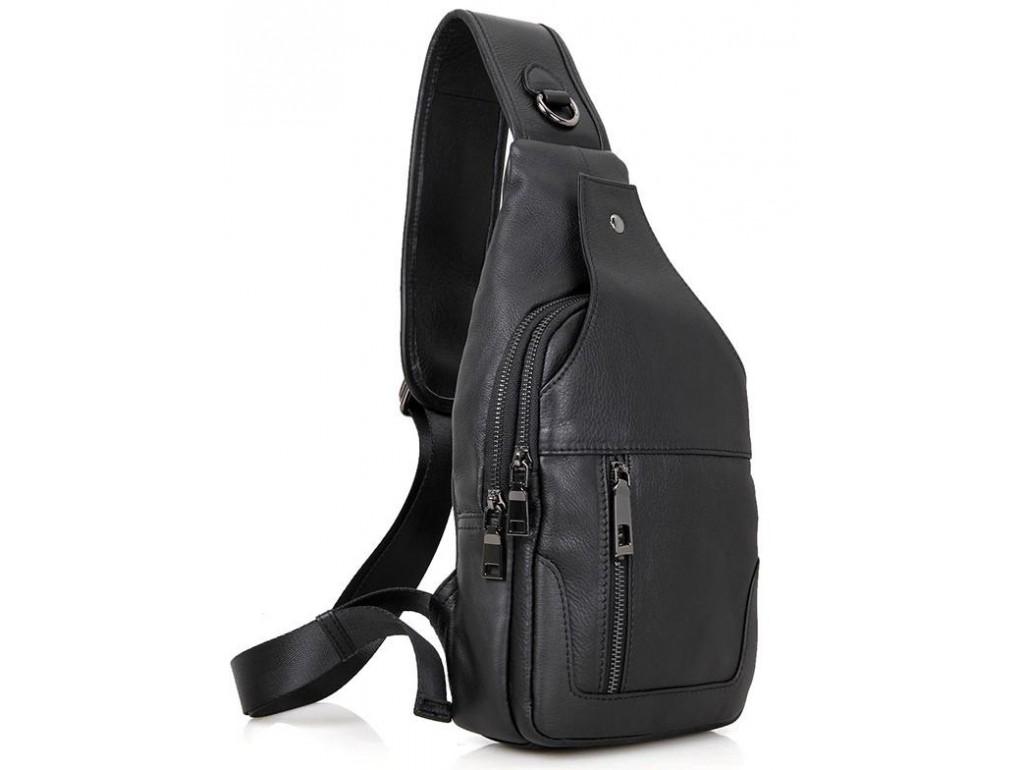 Кожаный черный слинг Tiding Bag 4004A - Royalbag Фото 1