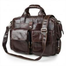 Вместительная мужская кожаная сумка под ноутбук для командировок Tiding Bag 7219C - Royalbag