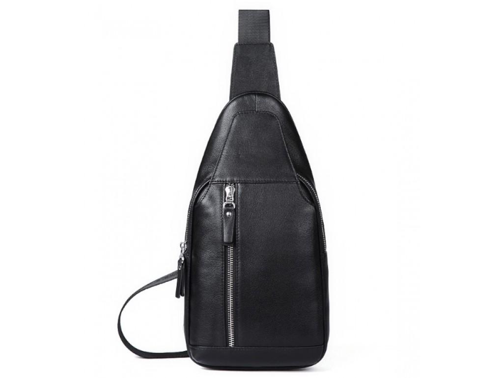 Мужская нагрудная сумка-слинг через плечо кожаная Tiding Bag B3-1701A - Royalbag