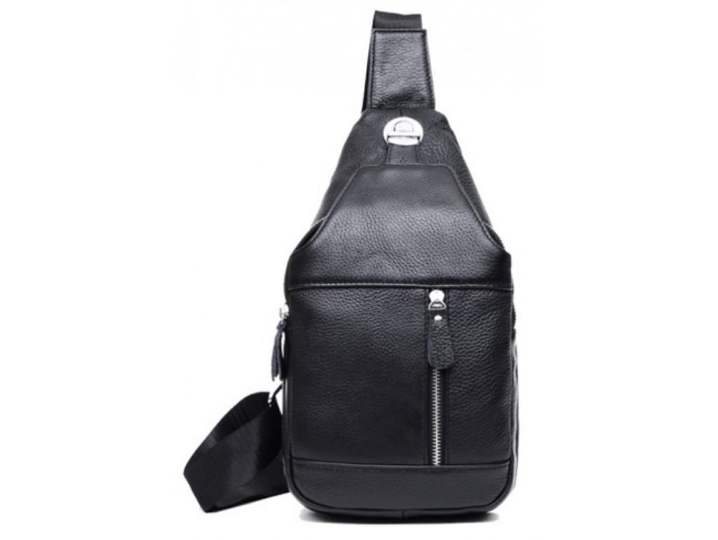 Сумка-мессенджер на грудь мужская кожаная черная Tiding Bag M38-8150A - Royalbag Фото 1