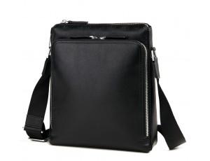 Деловая классическая мужская сумка через плечо черная кожа Tiding Bag M664-1A - Royalbag