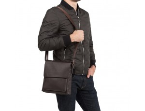 Сумка через плечо мужская кожаная коричневая Tiding Bag A25-1278C - Royalbag