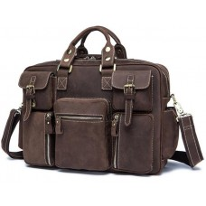 Дорожная кожаная сумка прочная тревел бег коричневая Tiding Bag 7028B - Royalbag
