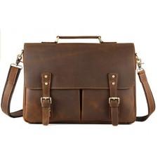 Прочный мужской кожаный портфель с отделом для ноутбука TIDING BAG t0016 - Royalbag