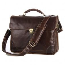 Мужской кожаный портфель с клапаном коричневый Tiding Bag 7091C - Royalbag