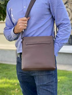 Мужская сумка через плечо коричневая