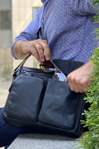 Мужская сумка кожаная для ноутбука 14